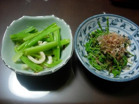 20110511GW(山菜料理)うるいといかの酢味噌和え 木の芽のおひたし.JPG